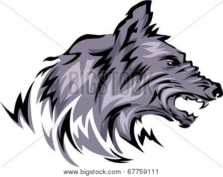 Mascot Illustration Featuring a Wolf with Its Fangs Bared