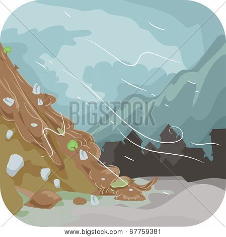 Illustration Featuring a Combination of Mud and Rocks Sliding Down the Ground Below