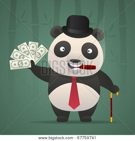 Panda smoking cigar and holds money