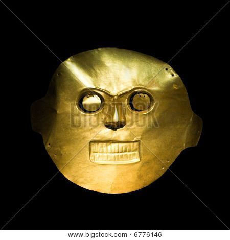 Golden Mask In The Gold Museum, Bogota, Colombia