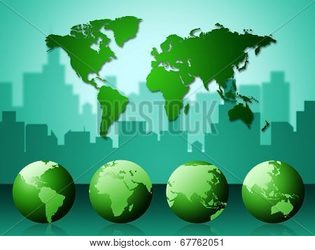 World Map Represents Geographical Continents And Template