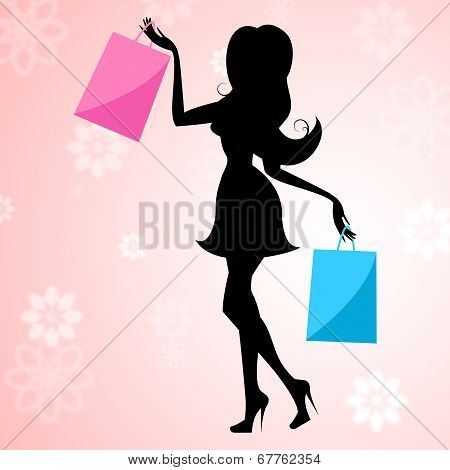 Shopping Woman Means Commercial Activity And Buying