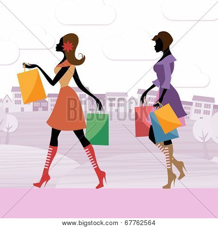 Women Shopper Shows Commercial Activity And Adults