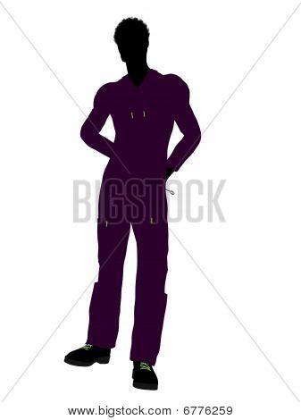 African American Mechanic Silhouette