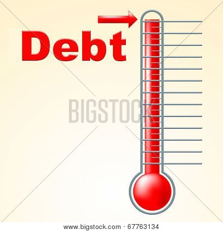 Thermometer Credit Indicates Debit Card And Banking