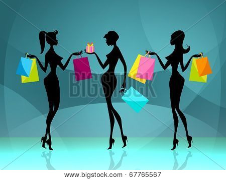 Women Shopper Means Retail Sales And Adult