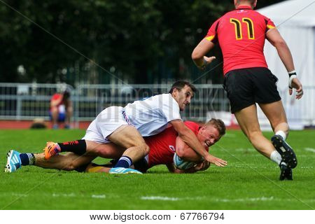 MOSCOW, RUSSIA - JUNE 29, 2014: Match for place 7 between France (white uniform) and Belgium during the FIRA-AER European Grand Prix Series. Belgium won 43-0