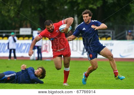 MOSCOW, RUSSIA - JUNE 28, 2014: Match between France (blue uniform) and Georgia during the FIRA-AER European Grand Prix Series. Georgia won 31-14