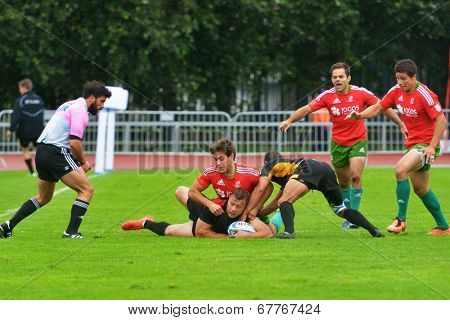 MOSCOW, RUSSIA - JUNE 28, 2014: Match between Germany and Portugal during the FIRA-AER European Grand Prix Series. Portugal won 17-5