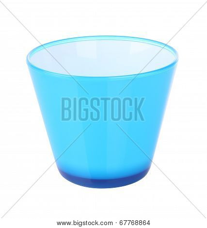 Side of blue plastic jar opened on white background.