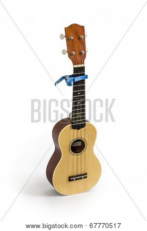 Ukulele and Capo isolated on white Clipping path included
