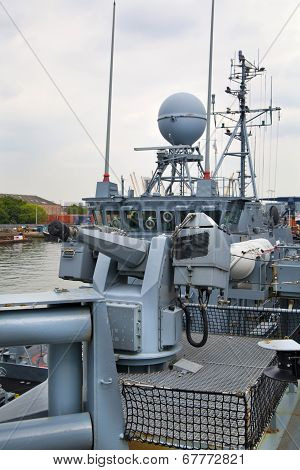 LONDON, UK - MAY 17, 2014 German army military ships based in Canary Wharf aria, to be open for publ