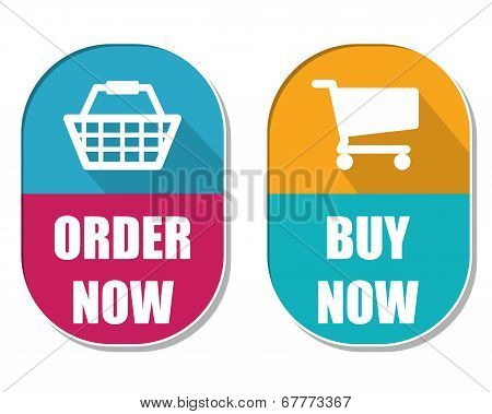 Order Now And Buy Now With Shopping Basket And Cart Signs, Two Elliptical Labels