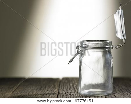 plain glass jar with open lid