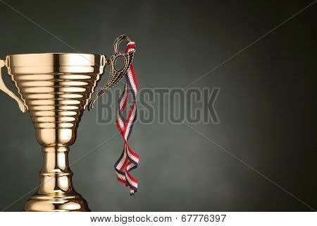 close up trophy with the ribbon