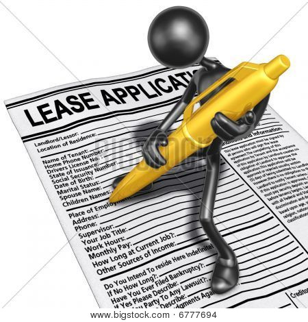 Filling Out A Lease Application With Gold Pen
