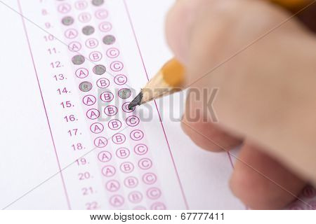 Multiple choice examination form or customer service satisfaction survey