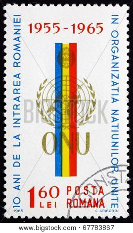 Postage Stamp Romania 1965 Arms, Flag Of Romania And Un Emblem