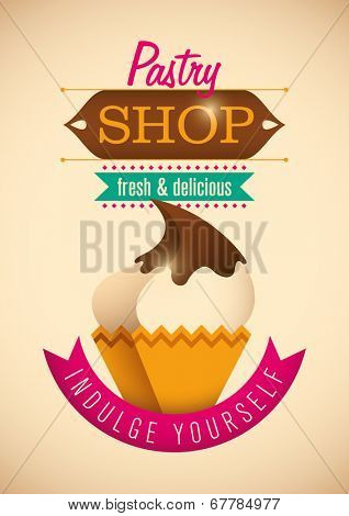 Pastry shop poster design. Vector illustration.