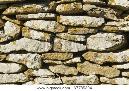 Dry Stone Limestone Wall, Small Stones, Texture, Pattern Background.
