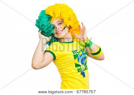 Brazilian teen celebrating brazil team party on white background
