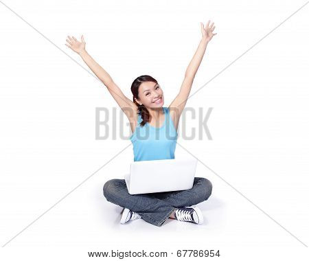 Woman Student Happy Sitting With Laptop