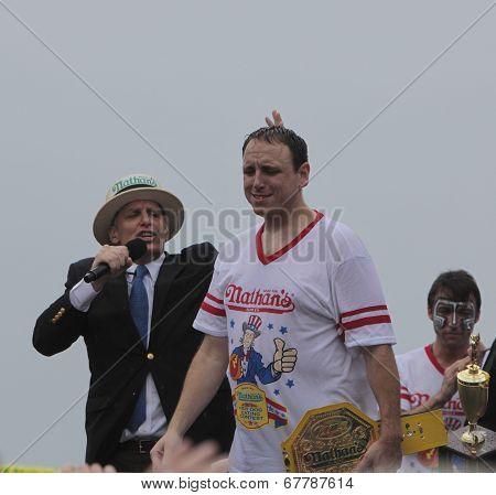 Champion Joey Chestnut on stage