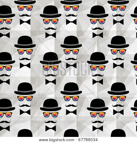 Vintage silhouette top hat and mustache background