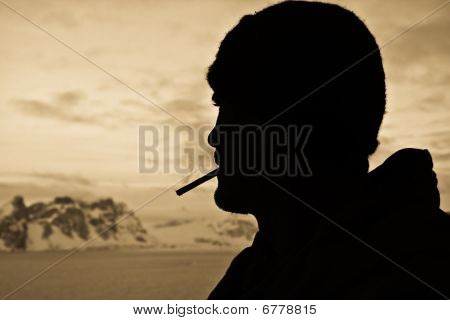 Silhouette Of Male Smokers