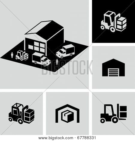 Forklift, warehouse icons