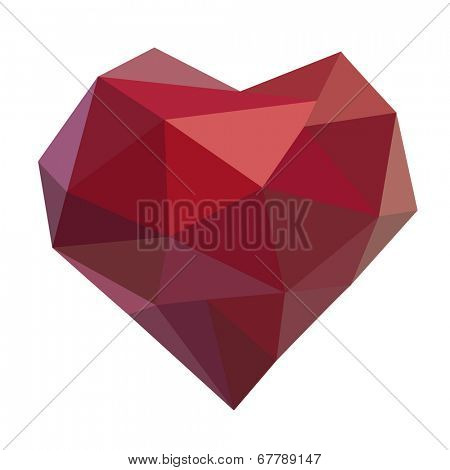 Geometric polygonal heart shape. Love symbol. Vector illustration.