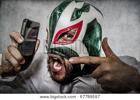 man screaming on the phone, aggressive executive suit and tie, Mexican wrestler mask