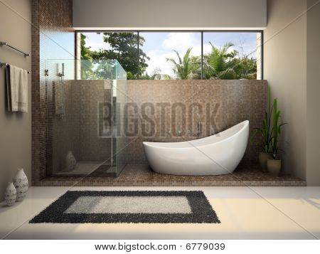 modernes Interieur des Badezimmers
