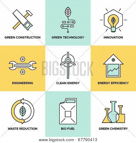 Green Technology And Clean Energy Flat Icons Set