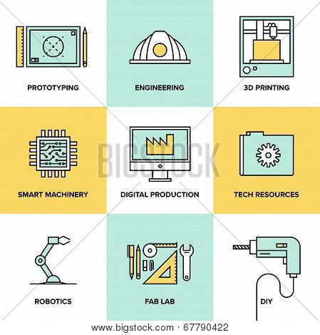 Digital Engineering And Production Flat Icons Set poster