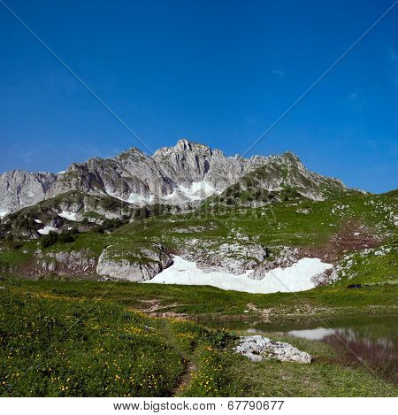 View Of Mount Pshekha-su And Lake Psenodah