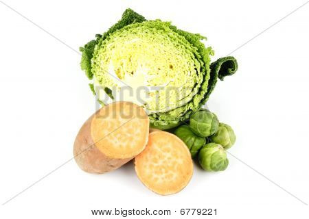 Half A Cabbage With Sweet Potato And Sprouts