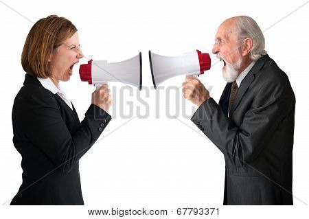 Businesswoman And Senior Manager Megaphones