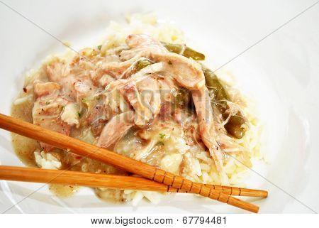 Chicken Gravy On Rice With Chop Sticks
