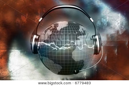 Globe with head phone