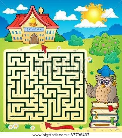 Maze 3 with owl teacher - eps10 vector illustration.