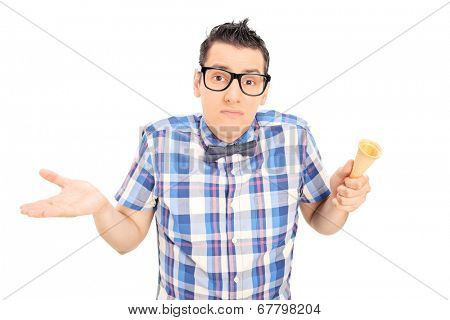 Sad man holding an empty ice cream cone isolated on white background