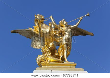 Detail Of The Alexandre Iii Bridge, Paris, Ile De France, France