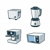 stock photo of blender  - Set of four cartoon vector icons of a toaster blender coffee maker and microwave oven - JPG