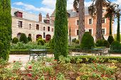 picture of leonardo da vinci  - garden in front of Clos de Luce, house of Leonardo da Vinci, France