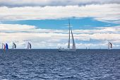 picture of windy weather  - Yacht Regatta at the Adriatic Sea in windy weather - JPG