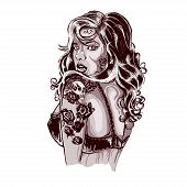 picture of rockabilly  - Old School Tattoos Swallow Tattoo Design Shop Tattooed Lady Picture - JPG