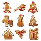 picture of ginger-bread  - Set of vector Christmas ginger breads illustration for your design - JPG
