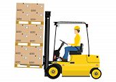 stock photo of lift truck  - Cartoon fork lift truck at work isolated on white background - JPG