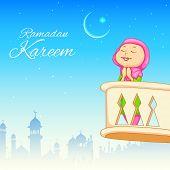 stock photo of dua  - illustration of kid offering namaaz for Eid celebration - JPG